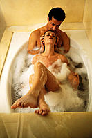 Couple enjoy bubble bath
