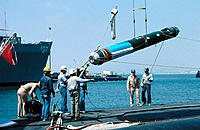 Loading a Mark 48 torpedo. USS Haddock (SSN 621). San Diego. California. USA
