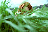 Woman peeking through grass