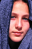 12 years old girl with towel around her head