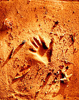 Child's handprint in sand