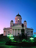 Statue of Alexander II and Lutheran Cathedral. Helsinki. Finland