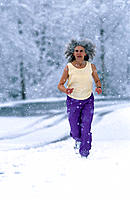 Senior woman jogging, Alaska