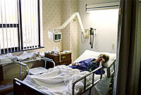 Woman age 84 in cardiac hospital ward. Poughkeepsie. New York. USA