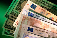 Euro contrasted with dollar