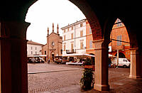 Giuseppe Verdi Square and church of Saint Bartolomeo in background. Busseto. Italy