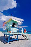 Cabin on the beach, art deco district. Miami Beach. Florida. USA