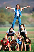 Pyramid of teen girls