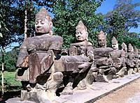Statues at temple complex of Angkor Thom. Angkor. Cambodia