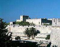 Greece, Rhodes, Dodecanese, Rhodes Town, Palace of the Grand Masters, Byzantine town wall