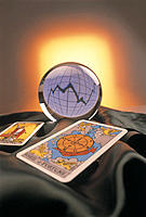 Business Concept, Graph in Crystal Ball and Tarot Cards
