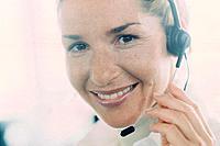 Geschäftsfrau Kopfhörer Headset Porträt