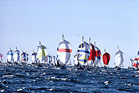 Yachting Race, Backlit sails many on shimmery ocean, pale blue skies A16D