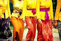Indonesia, Bali, Closeup of colorful clothes worn by women during ceremony B1746