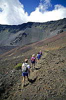 Maui Haleakala Crater back vu group hike Sliding Sands trail D1601 National Park