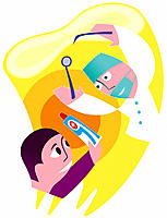 Dentist and patient. Conceptual artwork of a patient warding off a dentist with toothpaste. The dentist is holding a dental mirror at upper left and a...
