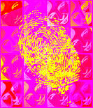 Faces with fingerprint. Computer illustration of a fingerprint seen over repeated negative images of a woman´s face. Everyone has a unique pattern of ...