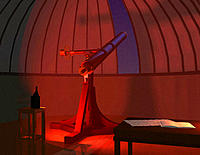 Refracting telescope. Artwork of the 23 centimetre (9-inch) Fraunhofer refractor telescope at Berlin Observatory, Germany, on 23 September 1846, the n...