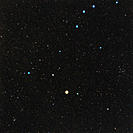 Bootes constellation. Optical image of the constellation Bootes, the herdsman. North is at top. It brightest star is Arcturus (Alpha Bootis, lower cen...