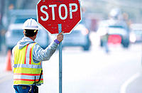 Road construction traffic worker. Texas. USA