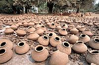 Clay pots harden in the sun. Myanmar