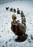 Figurines of ducks in a row, Boston Common, Boston, Massachusetts, USA