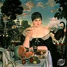 Merchant´s Wife Having Tea 1918 Boris Mihajlovic Kustodiev 1878-1927 Russian Russian State Museum, St. Petersburg