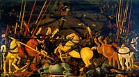 Battle of San Romano ca  1455 Paolo Uccello 1397-1475 Italian Tempera on wood panel Galleria degli Uffizi, Florence, Italy