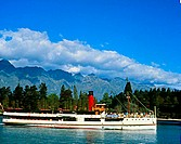 Steamship in a lake, Steamship Earnslaw, Lake Wakatipu, Queenstown, South Island, New Zealand