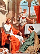 Jesus Visits Martha and Mary(School of) Heinrich Hoffmann