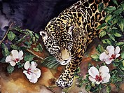 Jaguar with Hibiscus, 2000, John Bunker 20th C./American, Watercolor