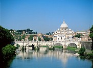 Saint Peter's Basilica and Sant'Angelo Bridge. Vatican City. Rome. Italy
