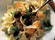 Close Up on Farfalle Pasta with Tomatoes and Olives