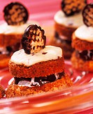 Chocolate marshmallow muffins with mascarpone mousse & wafers