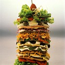 Tower of sandwiches with different layers