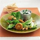 Chick pea burgers with romaine lettuce & minted yoghurt dip