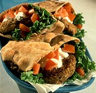 Falafel Burger in Pita with Tomatoes, Yogurt