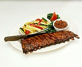 Rack of Ribs with Baked Beans and Vegetables
