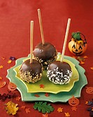 Chocolate Dipped Apples for Halloween