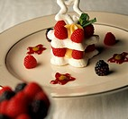 Meringue Layered with Raspberries