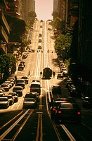 'California Street' looking towards 'Nob Hill'. Cable car and tracks, late afternoon. San Francisco (CA). USA