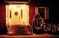 Delta Upsilon Fraternity House with Christmas lights