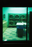 Laundromat at night from outside. San Francisco. California. USA