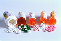 Prescription medicine: Variety of pills & capsules.