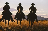 Cowboy silhouettes. Ponderosa Ranch. Central Oregon. USA