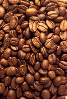 Many roasted coffee beans (close-up)