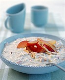 Bircher muesli with peaches and almonds