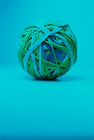 Ball of Rubber Bands, Light Blue Background´