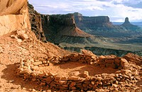 False Kiva, native American part time residence. Canyonlands National Park. Utah. USA