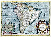 South America, 17th century Dutch map. This shows the new continent that was being discovered by European explorers. The shape is distorted because it...
